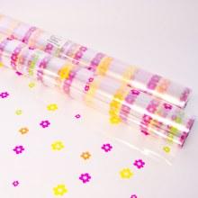 Multi colour daisy cellophane wrap 80cm x 100m