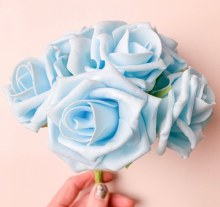 Foam Rose Baby Blue 7cm x 6 Stems