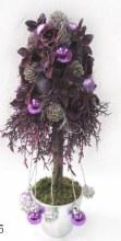 Purple Christmas tree in silver pot
