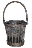 Wicker woven basket with glass vase-36cm