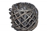 Grey wash wicker woven basket with glass- 18cm