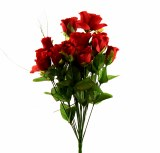 Red closed rose bush with 14 stems, height-45cm