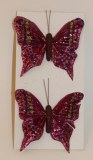 Burgundy decorative feather butterflies pack of 2, 6cm