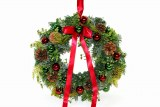 Christmas traditional door wreath 35cm with red ribbon
