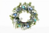 Christmas wreath with blue baubles