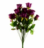 Artificial Dew Drop Roses Dark Lilac Bunch
