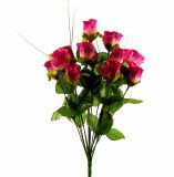 Artificial Dew Drop Roses Pink Bunch