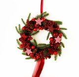 Christmas Red Berry, Spruce and Star Christmas Wreath
