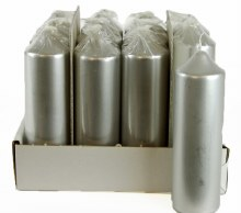 Church Pillar Candles 165mm x 50mm x 12Pcs Silver