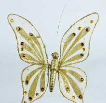 Gold sparkle sheer clip butterfly with clip, 19cm