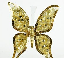 Gold glitter butterfly with clip, 19cm