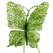Lime green glitter decorative butterfly,15cm