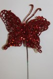 Red glitter decorative butterfly, 10cm