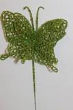 Lime green glitter decorative butterfly,10cm