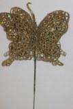 Light gold glitter decorative butterfly,10cm