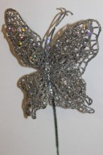 Silver glitter decorative butterfly, 10cm