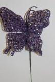 Purple glitter decorative butterfly,10cm