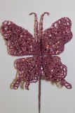 Pink glitter decorative butterfly, 10cm