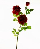 Velvet red rose artificial flower stem