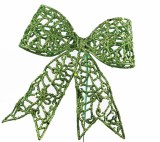 Green glitter Christmas bow on wire stem