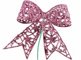 Pink glitter Christmas bow on wire stem