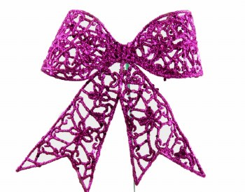 Purple glitter Christmas bow on wire stem