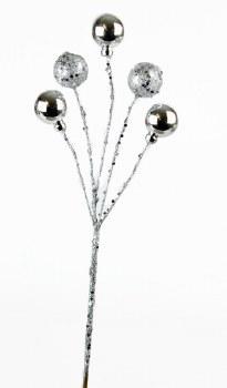 """Glitter sphere Christmas pick silver 13"""""""