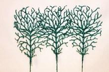 "Blue glitter coral branch x 3 19.5"""