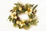 Gold Poinsettia Christmas door wreath