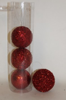 Red 80mm glitter Christmas baubles x 4