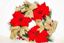 Poinsettia and hessian Christmas wreath