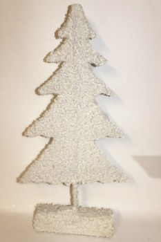 """White glitter Christmas tree with stand 25"""""""