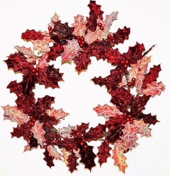 Burgundy Velvet & Glitter Holly Berry Leaf