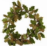 Green velvet Christmas holly wreath 45cm