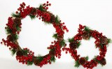 Rustic Christmas berry wreath with glitter set x 2.