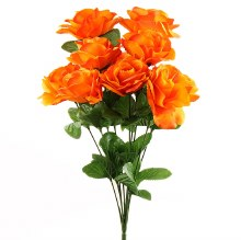 Orange Artificial Rose Bunch x 10 Stems