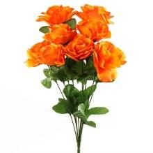 Orange Artificial Rose Bunch x 10 Stems