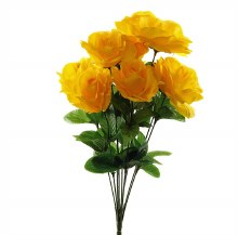 Yellow Artificial Rose Bunch x 10