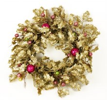 Gold Holly Christmas Wreath 19""