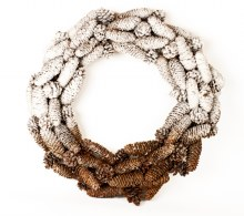 Snow Frosted Christmas Pine Cone Wreath 20""