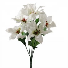 Christmas Poinsettia Bunch- White & Glitter x 5 Stems