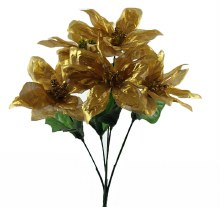 Christmas Poinsettia Bunch- Gold & Glitter x 5 Stems