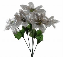 Christmas Poinsettia Bunch- Silver & Glitter x 5 Stems