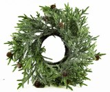 Christmas Wreath Natural Frosted W/Pine Cones