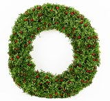 Christmas Green & Red Berry Artificial Wreath 26""