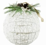 Christmas Bauble Large White Wicker 13""