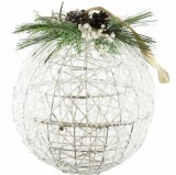 Christmas Bauble Large White Wicker 10""