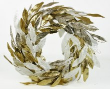 Christmas Wreath Glitter Leaves 20""