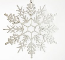 Christmas Snowflake Bauble White Glitter 12""