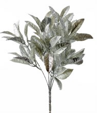"Christmas Artificial Glitter Leaves 14.5"" Silver"